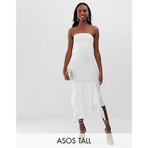 ASOS Tall bandeau crepe midi dress pep hem white